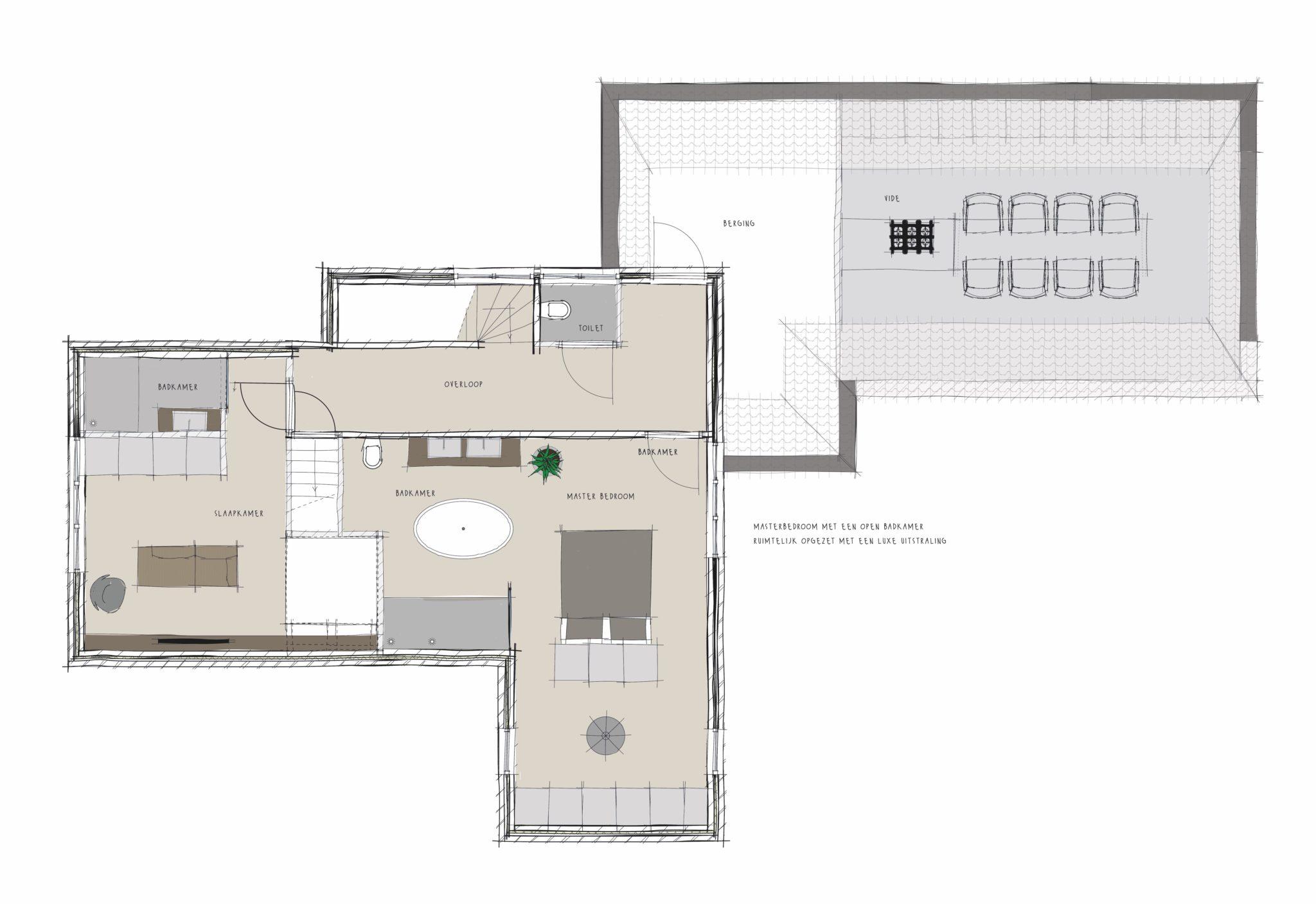Eerste opzet voor indeling 1e etage